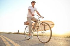 Almond X Linus summer bike can store all the essentials for a surf session within its cherry wood crate on the rear rack, while a board rack is carrying the surfboard. Coachella, Surfboard Rack, Bike Rack, Cool Bikes, Sunnies, Surfing, Almond, Summer Goals, Summer 3
