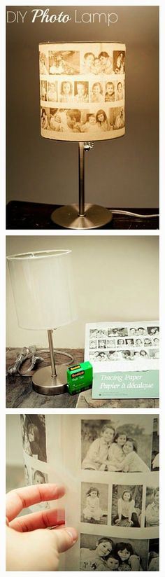 Make this beautiful photo lampshade with vintage photos from your own childhood! A great way to light up the room with cherished memories and display a piece of the past. Crafts To Do, Home Crafts, Diy Home Decor, Photo Craft, Diy Photo, Foto Transfer Potch, Photo Lamp, Mod Podge Crafts, Diy Décoration