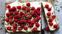 Raspberry, pistachio and lime traybake with cream cheese icing Recipe Pear Recipes, Almond Recipes, Baking Recipes, Cake Recipes, Citrus Recipes, Delicious Recipes, Sweet Recipes, Pear And Almond Cake, Almond Cakes