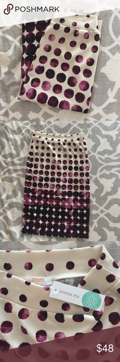 Renee C Starla Printed Pencil Skirt Burgundy This pencil skirt is soft and flexible and dressy. Would pair well with my black Daniel Rainn blouse. The color is vibrant and perfect for fall/winter. This is an item I received in a Stitch Fix. Stitch Fix Skirts Pencil