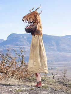 Wilder Mann: Schnappviecher, from the book: Wilder Mann  Schnappviecher From Italy, these horned creatures are often three metres high and appear on Shrove Tuesday to spread terror on the streets of the wine village of Tramin. Their origin is unknown . Photograph: Charles Fréger