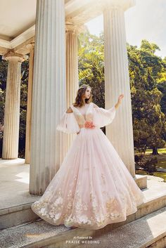 Exquisitely feminine and as ethereal as can be, this garden-inspired blush gown from Royal Wed offers equal parts whimsy and elegance! Wedding Dress Sleeves, Cheap Wedding Dress, Gowns With Sleeves, Cute Dresses, Beautiful Dresses, Prom Dresses, Flower Girl Dresses, Gorgeous Dress, Renaissance Wedding Dresses