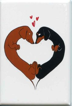 dachshund cute love heart dog art magnet by rubenacker on Etsy, $4.25