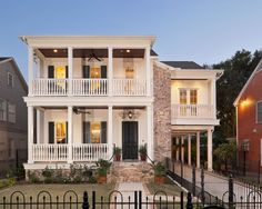 Garage, Charming Traditional White Home Design Also Elegant Black Fence Also Comely Attached Carport Design