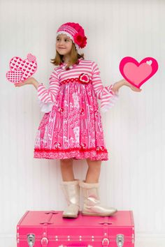 Pink Puppy Love Dress from Kinderkoutureclothing.com #kidsfashion #valentines #photography