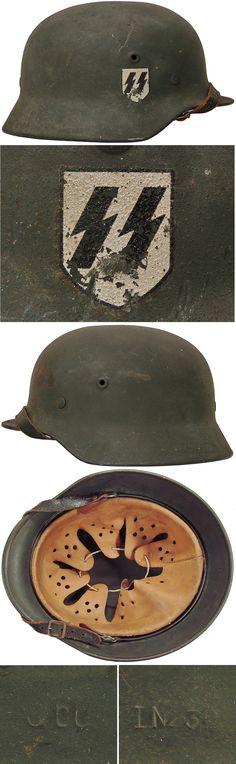 Original SS M40 SINGLE DECAL HELMET. (Stahlhelm M40) Check out my website for more original WW2 items: http://www.vantiques.nl