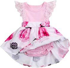 Newborn Infant Baby Girls Floral Dress Flutter Lace Sleeve Skirts Ruffle Dresses Summer Outfits Romper With Skirt, Ruffle Romper, Lace Dress With Sleeves, Floral Lace Dress, Elegant Summer Dresses, Spring Dresses, Baby Girl Dresses, Baby Girls, Baby Baby