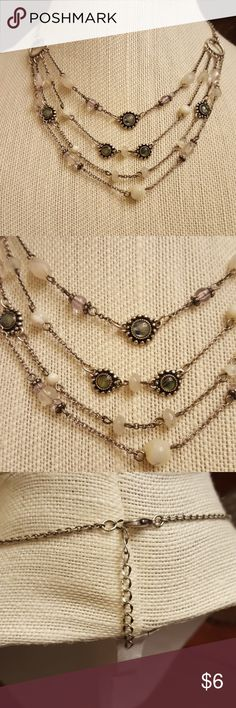 """TIERED NECKLACE 16"""" with 2"""" extender.  Really pretty glass and acrylic beads.  Silver toned hardware, perfect working clasp.  Excellent pre-loved condition. Jewelry Necklaces"""