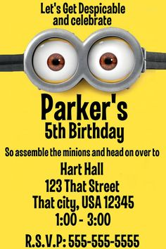 You Print Minion Despicable Me Personalized Birthday Invitation
