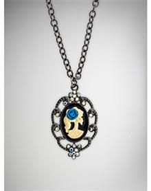 Cameo Skull Blue Rose Necklace