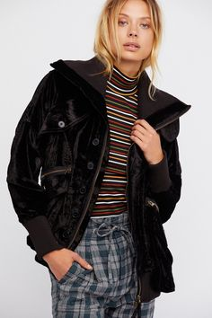Field Bomber Jacket | Luxe velvet bomber jacket featuring double hip pockets with zip and button closures and 2 bust pockets.   * Ribbed collar and hem * Oversized slouchy fit * Font zip closure with button closures  * Zip detailing on the sleeves  * Lined