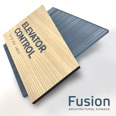 Fusion 38 ADA compliant permanent interior room ID sign. Gotham font w/ tranquility blue raised copy. Formica natural ash laminate paired w/ Strand Lake. Door Signage, Office Signage, Wayfinding Signs, Environmental Graphics, Environmental Design, Ada Signs, Architectural Signage, Trophy Design, Sign System