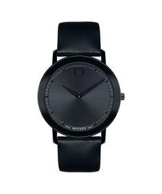 Movado Men's Sapphire Watch with Thin Black Bezel-Free Case 0606884