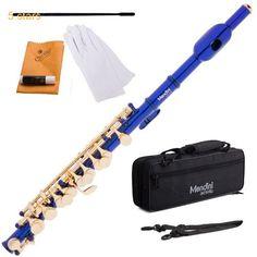 Mendini Key of C Piccolo Blue Lacquered  MPO-BL