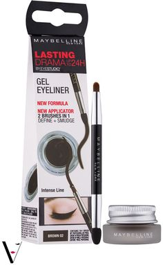 bb5e2eac0f9 Create bold and dramatic eye makeup trends with Maybelline Lasting Drama Gel  Eyeliner. wing out for extra drama.