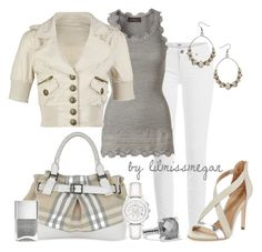 Nude, Grey & White by lilmissmegan ❤ liked on Polyvore featuring Paige Denim