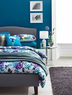 Blue, purple and white bedroom.  Using color but being sophisticated with it.