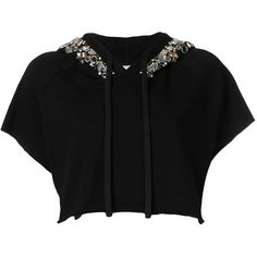 Amen cropped embellished hoodie (€245) ❤ liked on Polyvore featuring tops, hoodies, black, embellished top, embellished crop top, hoodie top, sweatshirt hoodies and cropped hoodies