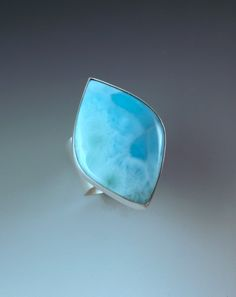 Large Larimar- Azure Blue- Hammered- Sterling Silver Statement Ring by RedPaw on Etsy