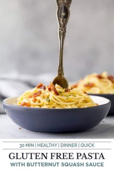 Creamy Butternut Squash Pasta permeated with fresh sage and thyme then garnish of salty bacon! This gluten free pasta recipe is silky smooth, luscious and healthy. The perfect quick easy dinner recipe that screams fall comfort food! This healthy butternut squash recipe is sure to be one you make again and again. #butternutsquashrecipes #pastafoodrecipe #fallrecipes Dinner Recipes Easy Quick, Delicious Breakfast Recipes, Pasta Recipes, Cooking Recipes, Soup Recipes, Chicken Recipes, Gluten Free Meal Plan, Gluten Free Pasta, Butternut Squash Pasta