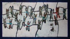 """art, hot enamel , Cu. """"Fishing rod in hand. A bit touched the line Summer Moon """"31.5x53.5"""