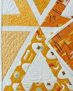 "close up, ""Clementine Darlings"" triangle quilt by Laurene Farley 