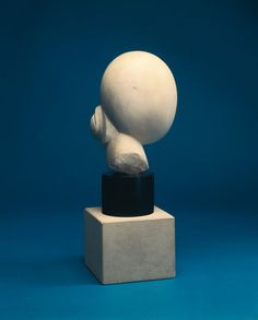 """CONSTANTIN BRANCUSI Head of a woman, 1925  Marble 11 in 28 cm   Seminal modern sculptor Constantin Brancusi created metal castings and carvings in stone and wood that, unadorned and reduced in form, fulfilled his famous principle: """"What is real is not the appearance, but the idea, the essence of things."""" #sculpture #Brancusi"""