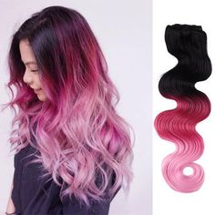 "8Pcs 3 Tone Natural Black To Pink Ombre Clip In Dye Hair Extensions 20"" Cosplay"