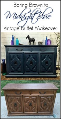 Vintage Painted Blue Buffet   Two Makeovers From One Cabinet. Furniture  UpdateFurniture MakeoverDiy ...
