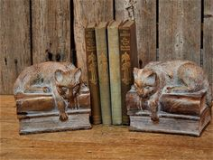 Cat Bookends - Kitty Napping on Books - Copper Toned Resin Pair