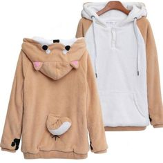 Harajuku Japanese Kawaii Shiba Inu Hoodies Winter Plush Hoodie Sweater SP166974