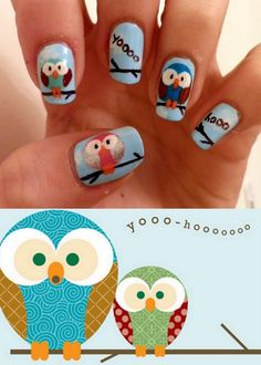 Cute owls with big eyes nail art