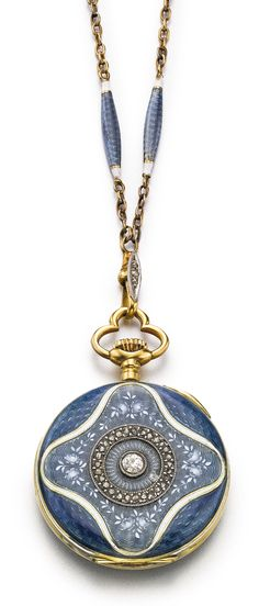 VULCAIN AN 18K YELLOW GOLD, ENAMEL AND DIAMOND-SET OPEN-FACED PENDANT WATCH WITH CHAIN CIRCA 1900