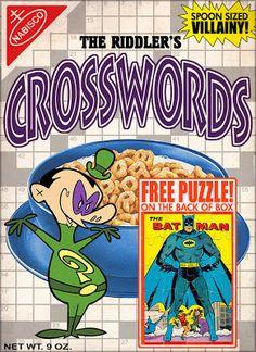The Riddler's Crosswords Breakfast Cereal, Breakfast For Kids, I Am Batman, Batman Stuff, Cereal Killer, Breakfast Of Champions, Riddler, Funny Comics, Marvel Funny