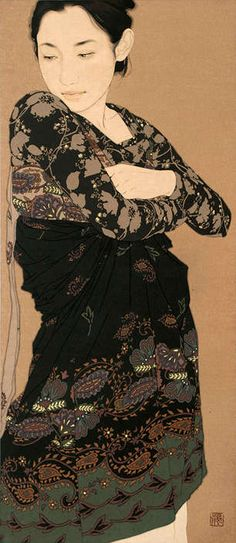 """Gold-Laced Girl Illustrations"" by Japanese female artist  Ikenaga Yasunari, 2012. She specializes in rendering serene women of Asian ethnicity on linen canvases. Her works are inspired by Japanese ancient traditional paintings, but with contemporary and highly fashionable subjects. She uses gold in her pieces as a medium and add mineral pigments, gelatine glue, and soot ink. She depicted floral pattern on female apparel on this painting, and it is very attractive on colors and shape"