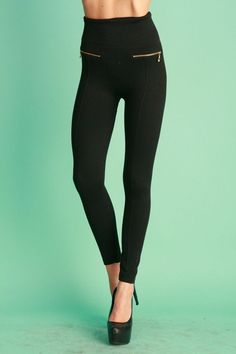 The Essential Fleece Zipper Legging - Black