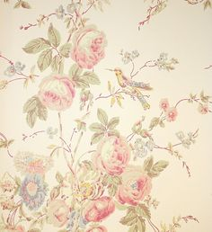 Roses & Hummingbird Wallpaper A lovely soft floral bouquet design in muted pinks, sages and blues on a dark cream background