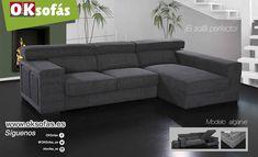 ¡El #sofá perfecto! La combinación ideal para un salón muy elegante.  Modelo #Algarve #oksofás  #sofaperfecto #sofáconchaiselongue # cómodo # amplio #descanso #Algarve