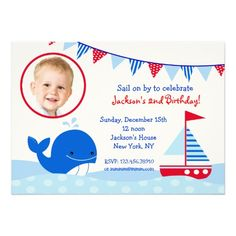 Nautical Whale Photo Birthday Party Invitations