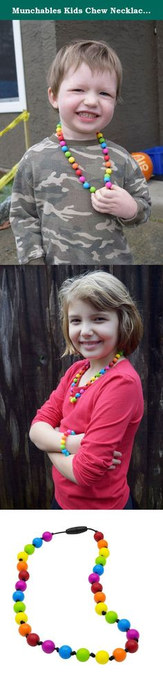 Munchables Kids Chew Necklace- Knotty Rainbow Chewelry. Munchables kids' products are perfect not only as fashion accessories, but also for children that love to chew. Munchables provide a safe alternative to chewing on collars, cuffs, fingers. Made of durable, BPA-free, 100% food-grade silicone, Munchables can reduce anxiety and boost confidence. Munchables offers 'manly' dog tag pendants, adorable beaded necklaces, cute bracelets, key rings and much more! Munchables not only exceed...