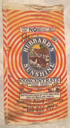 Vintage-Hubbard-039-s-Sunshine-Feed-Sack-Milling-Mankato-Farm-Pigs-Hogs-Cattle