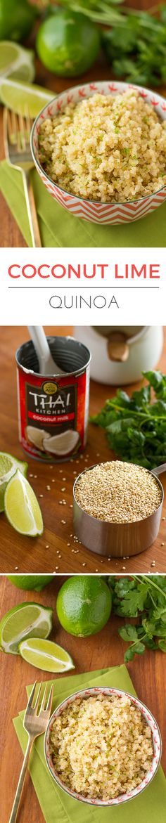Coconut Lime Quinoa -- 3 ingredients and insanely easy prep (use your rice…