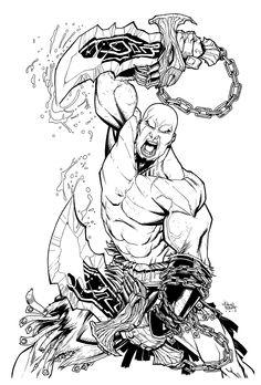 Kratos - God of War Character Sketches, Character Drawing, Iron Man Drawing, Kratos God Of War, War Tattoo, Mortal Kombat Art, Arte Do Kawaii, Geeks, Dragon Sleeve Tattoos