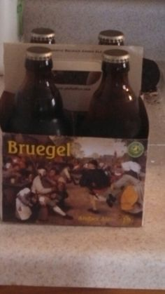 "Walking through Total Wine and i found beer named after Pieter Bruegel the elder, and the case has part of his painting ""peasant's dance"" on it"