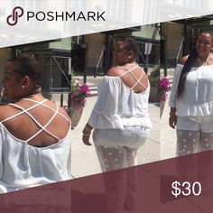 Plus size linen shirt, cris cross back, white Plus size linen shirt, cris cross back, white--- only worn once. The shirt will need to be ironed or dry cleaned to get wrinkles out since shirt is linen. Very very cute and stylish. Size 22 Asos Curve. ASOS Curve Tops Blouses