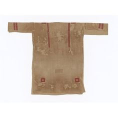 5th century (made) Linen tunic, with ornaments tapestry-woven in red wool and undyed linen thread. Length: 39 in, Width: 54 in, Length: 2.5 in of panels, Width: 2.5 in of panels, Width: 1 in of band