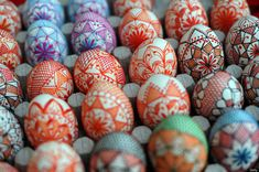 Hand-painted Easter eggs displayed for sale at a market in downtown Sofia
