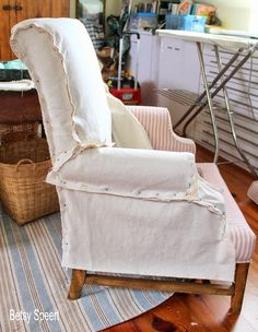 Betsy Speert's Blog: How To Sew a Chair Slipcover...sort of.... Drop Cloth Slipcover, Wingback Chair Slipcovers, Furniture Reupholstery, Reupholster Furniture, Upholstered Chairs, Furniture Makeover, Diy Furniture, Furniture Design, Chair Cushions
