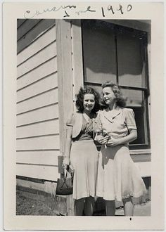 Two Women Dressed Up | vintage 40s Dress Skirt Top Handbag | 1940s Friends Photograph
