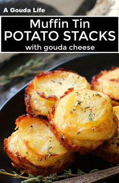 Cheesy potatoes baked in muffin tins with crispy golden edges. Cheesy potatoes baked in muffin tins with crispy golden edges. Potato Dishes, Vegetable Dishes, Food Dishes, Potato Recipes, Muffin Tin Recipes, Muffin Tins, Cheesy Potato Bake, Cheesy Potatoes, Muffin Tin Potatoes